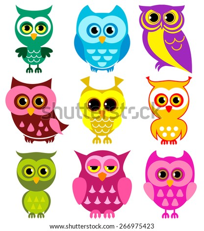 Vector Collection of Different Owls - stock vector