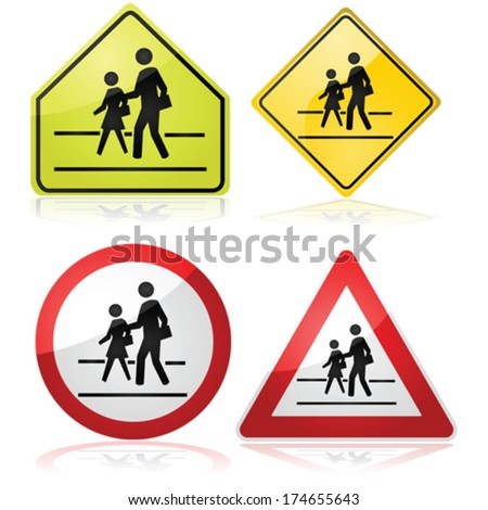 Vector collection of different traffic signs indicating a nearby school crossing - stock vector