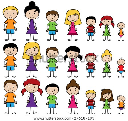 Vector Collection of Diverse Stick People in Vector Format - stock vector