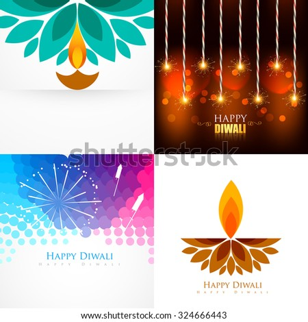 vector collection of diwali  background with creative diya and crackers illustration - stock vector