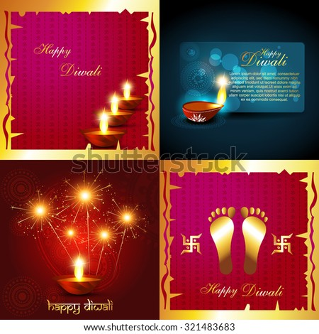 vector collection of diwali holiday background with burning diyas and fireworks illustration - stock vector