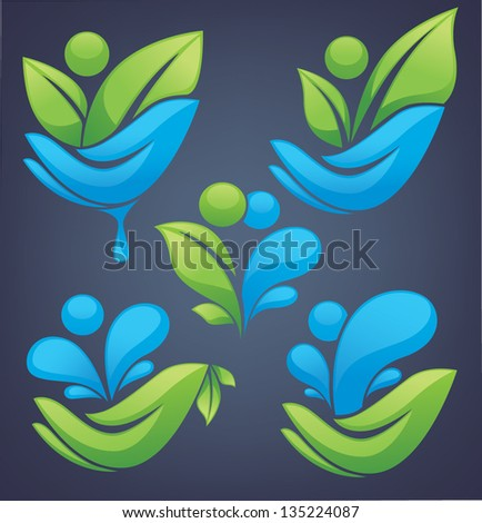 vector collection of ecological people on dark background - stock vector