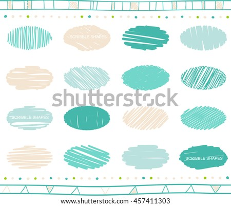 Vector collection of ellipse scribbled elements in hand drawn style  - stock vector