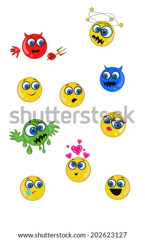 vector collection of emoticons - stock vector