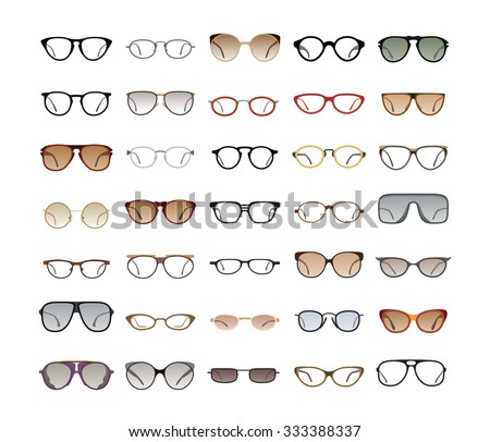 Vector collection of Eyeglasses and Sunglasses with different frames, models, shapes and styles for website and optics store. Isolated on white background. - stock vector