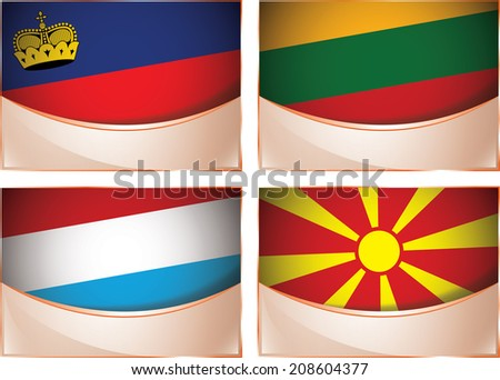 Vector collection of flags, four banner flags illustration, Liechtenstein, Lithuania, Luxembourg, Macedonia - stock vector