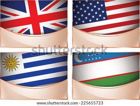 Vector collection of flags, four banner flags illustration, United Kingdom, United States of America, Uruguay, Uzbekistan - stock vector