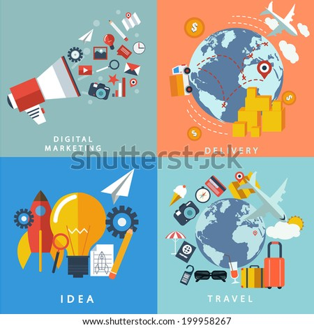 Vector collection of flat and colorful , delivery ,digital marketing , idea , travel .Design elements for web and mobile applications. - stock vector