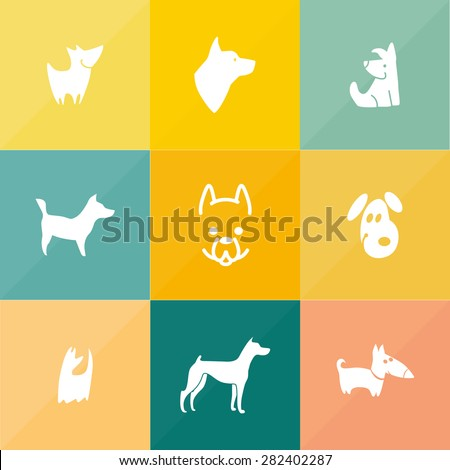 Vector collection of flat isolated dog logo. Pet club logo, shop, store, food, center, barberry, sport club, veterinary clinic design. Cute icon set. Hunting club outline emblem. Veterinarian symbol. - stock vector