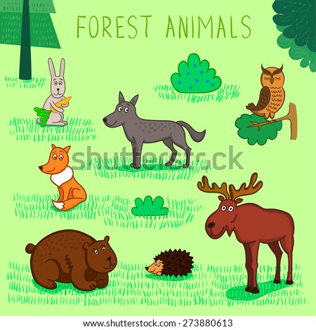 Vector collection of forest animals: hare, fox, wolf, owl, bear, hedgehog and elk - stock vector