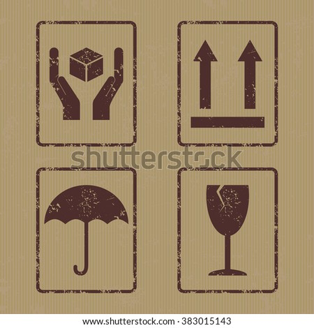 "Vector collection of four grunge icons consists of ""Handle With Care"", ""This side up"", ""Keep Dry"" and ""Fragile"". Fully editable packaging signs set on carton backdrop for your projects. - stock vector"