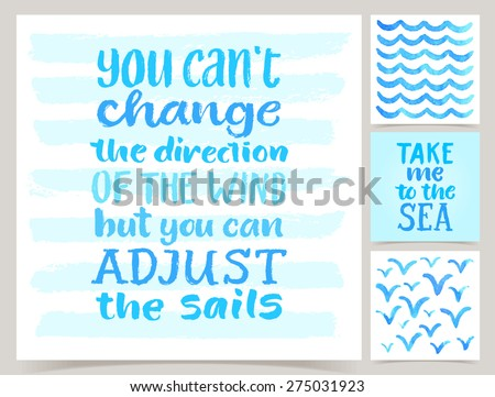 Vector collection of four marine cards template. Set of sea. Watercolor elements and patterns, calligraphic phrase for your design - stock vector