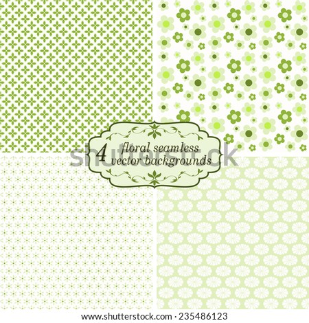 vector collection of four seamless floral backgrounds - stock vector