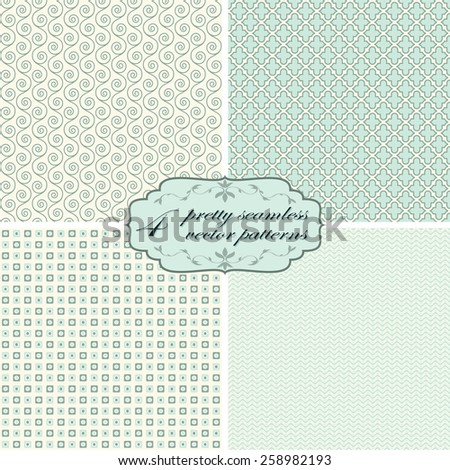 vector collection of four seamless pretty backgrounds - stock vector