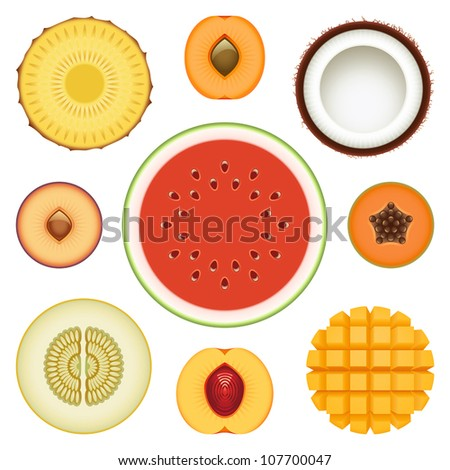 Vector collection of fresh fruit slices - Set 2 - stock vector