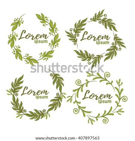 vector collection of fresh green leaf frames - stock vector