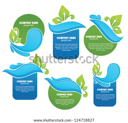 vector collection of fresh leaves and clean water, frames and stickers - stock vector