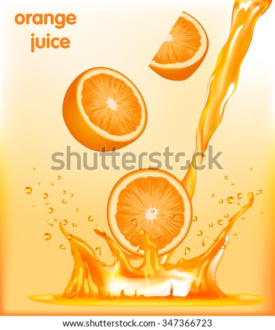 Vector collection of fresh ripe oranges and a splash of orange juice - stock vector