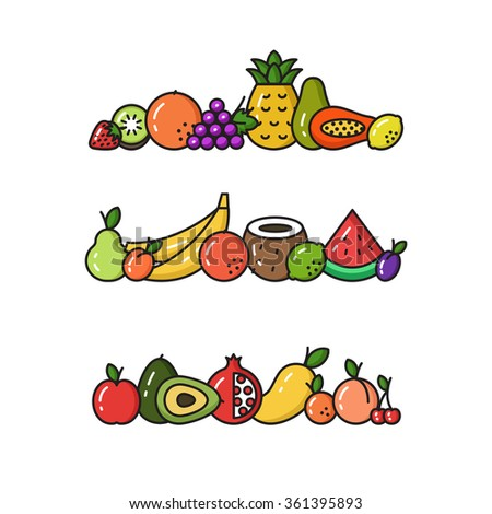 Vector Collection Of Fruit Line Icons  - stock vector