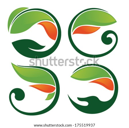 vector collection of glossy bright leaf frames and symbols - stock vector