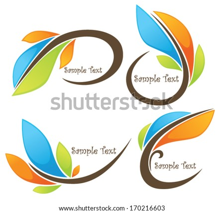 vector collection of glossy bright spring  leaf frames and symbols - stock vector