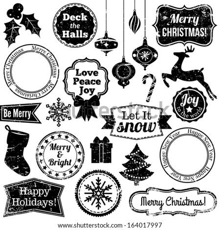 Vector Collection of Grunge Christmas and Holiday Stamps - stock vector