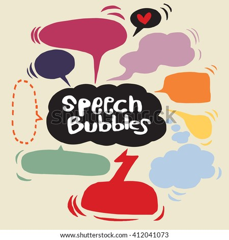 Vector Collection of Hand Drawn Doodle Style Speech Bubbles - stock vector