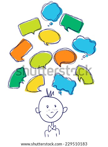 Vector Collection of Hand Drawn Doodle Style Speech Bubbles, color - stock vector