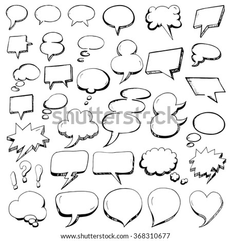 Vector Collection of Hand Drawn Speech Bubbles in doodle outline style - stock vector