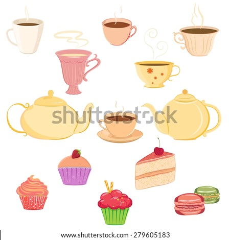 Vector collection of hand drawn teacups, teapots and sweets. Unique and elegant set for website, digital scrapbook and cafe or restaurant design. Separate elements could be used as icons - stock vector