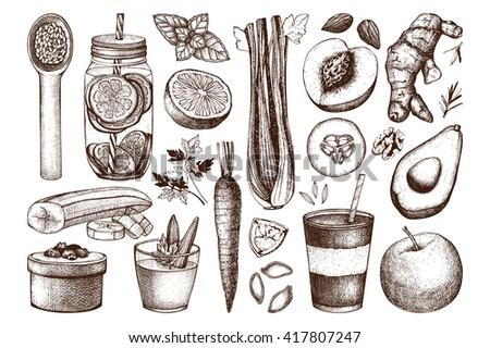 Vector collection of hand drawn vegetarian food illustration. Organic food sketch set. Healthy food menu elements. Vintage food drawings - stock vector