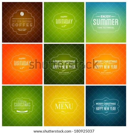 Vector collection of holiday retro banners. Christmas and New Year postcards with vintage typography. Bright background patterns. Coffee label, summer theme, restaurant menu cover - stock vector