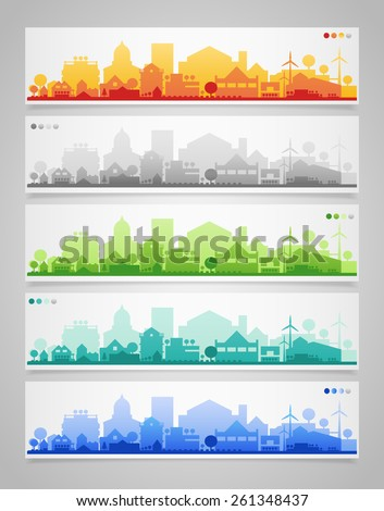 Vector collection of 5 horizontal banners with small town or village silhouettes - stock vector