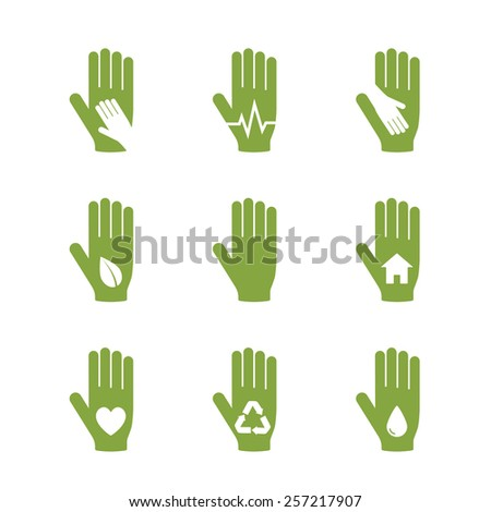 Vector collection of icons with hand logo template. Help, care, assistant concept icon. - stock vector