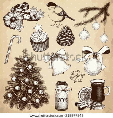 Vector collection of ink hand drawn Christmas and New year's elements and illustrations for vintage holiday greeting card or invitation design - stock vector