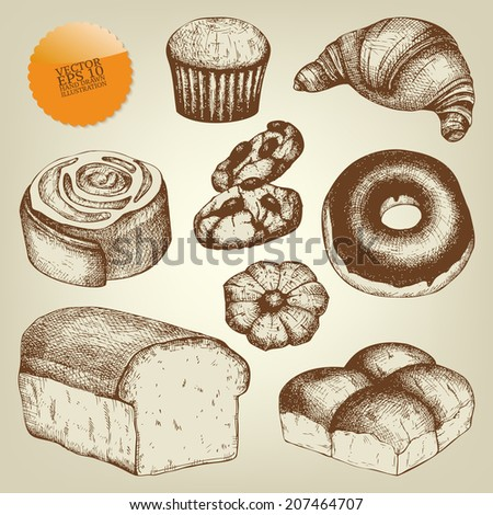 Vector collection of  ink hand drawn vintage dessert illustration isolated on white background for restaurant or cafe menu. Vintage coffee and pastry illustration - stock vector