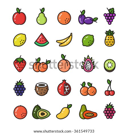 Vector Collection Of Isolated Fruit Line Icons  - stock vector