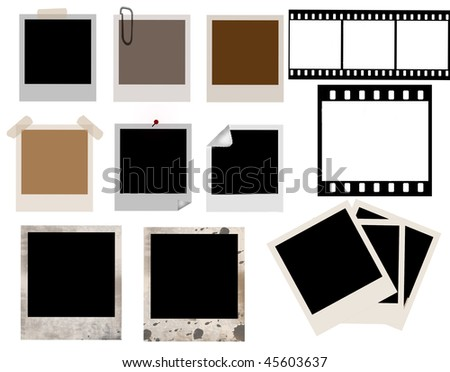 vector collection of isolated instant photo frames and film strip - more availabe - stock vector