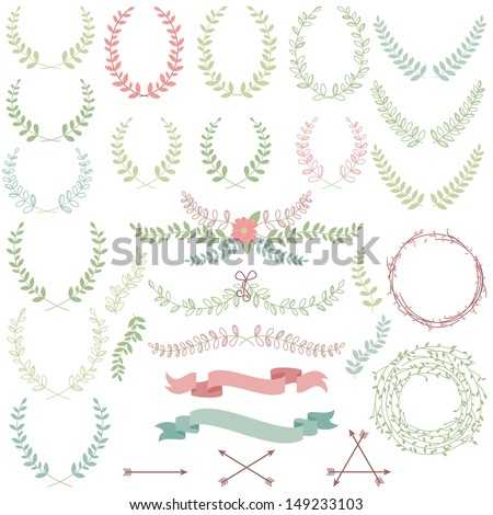 Vector Collection of Laurels, Floral Elements and Banners - stock vector