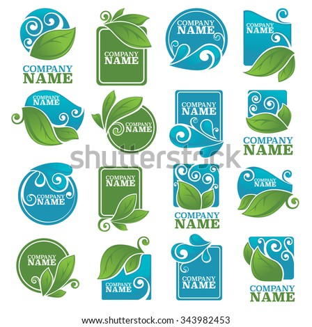 vector collection of leaves and water symbols and logo - stock vector