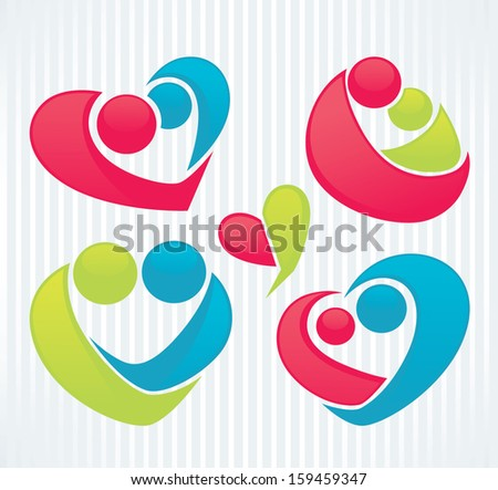 vector collection of love, people and hearts - stock vector