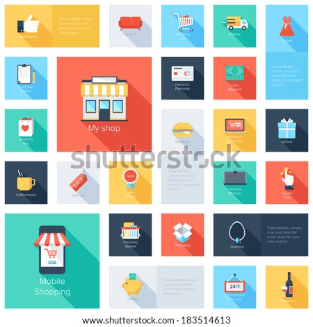 Vector collection of modern flat and colorful shopping icons with long shadow.  - stock vector