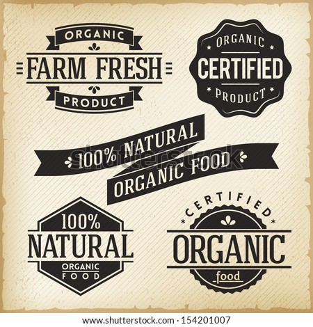 Vector Collection of Monoprint Vintage Labels for Organic Food Product - stock vector