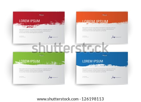 Vector collection of paper banners / backgrounds with grungy paint - stock vector