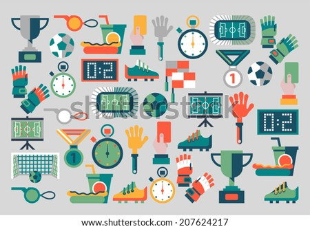 Vector collection of pictures on the theme of football - stock vector