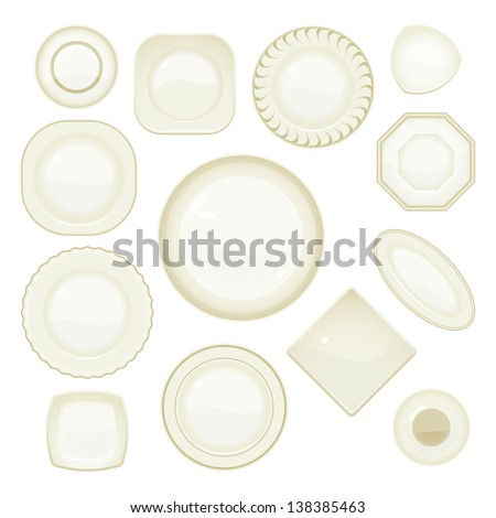 Vector collection of plates and saucers  - stock vector