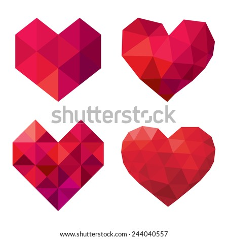vector collection of polygonal red hearts on white background - stock vector