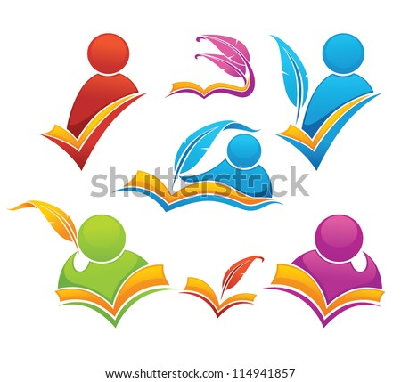 vector collection of reading and writing symbols, books and education - stock vector