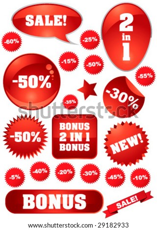 "Vector collection of red ""sale"" signs for your business artwork - stock vector"