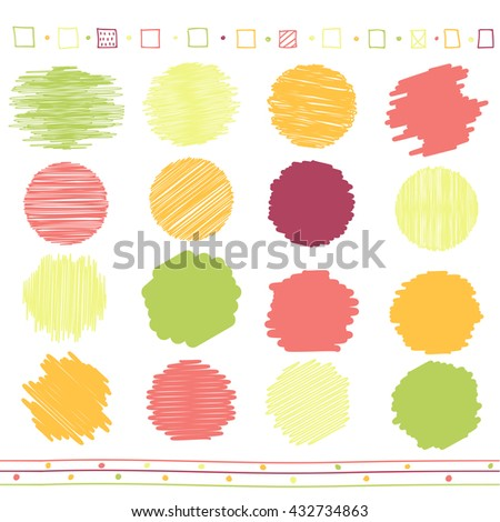 Vector collection of retro scribbled circular lines with hand drawn style of green, orange, pink and red color - stock vector
